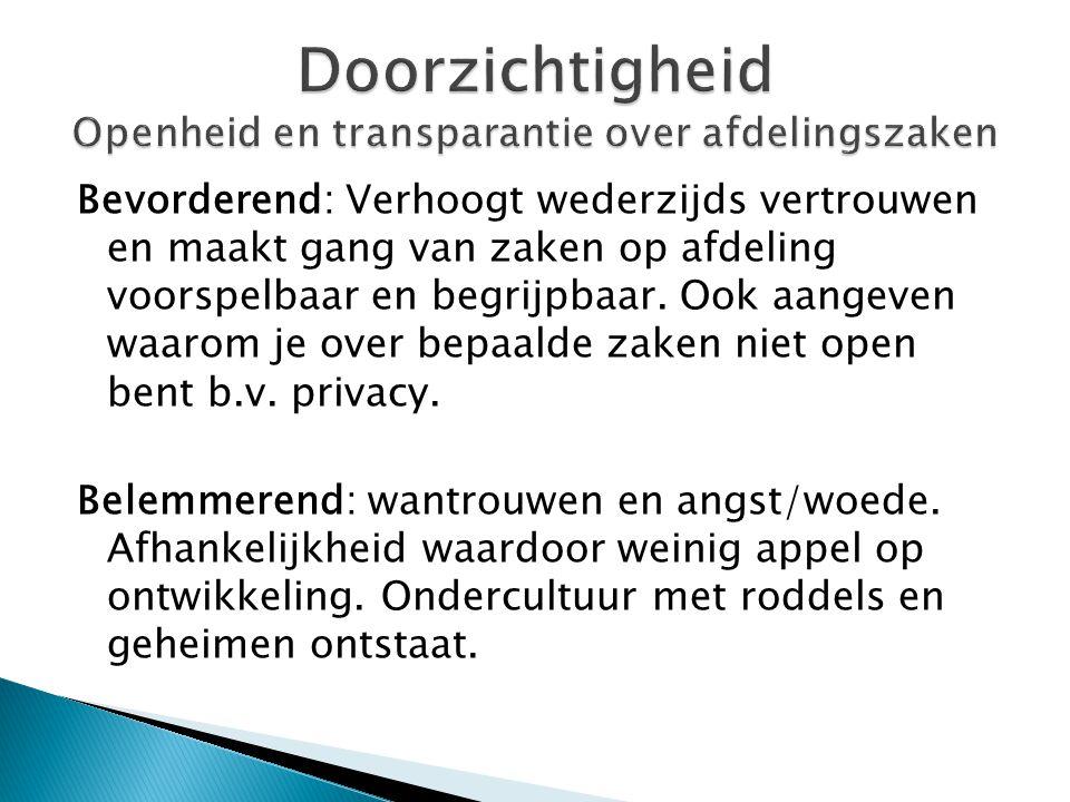 Doorzichtigheid Openheid en transparantie over afdelingszaken