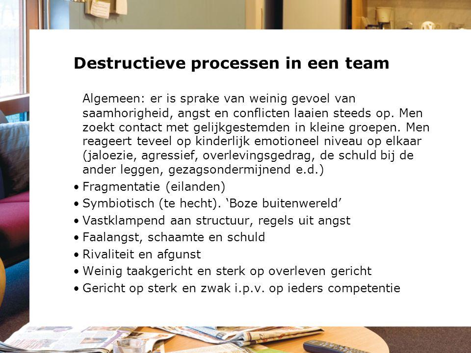 Destructieve processen in een team