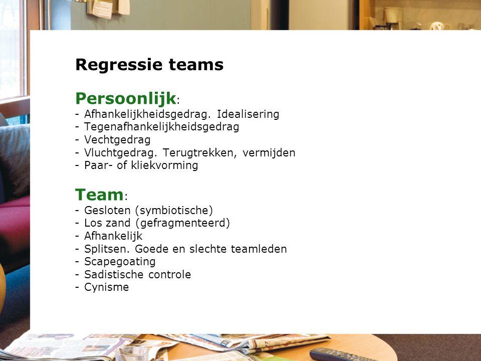 Regressie teams Persoonlijk: Team: