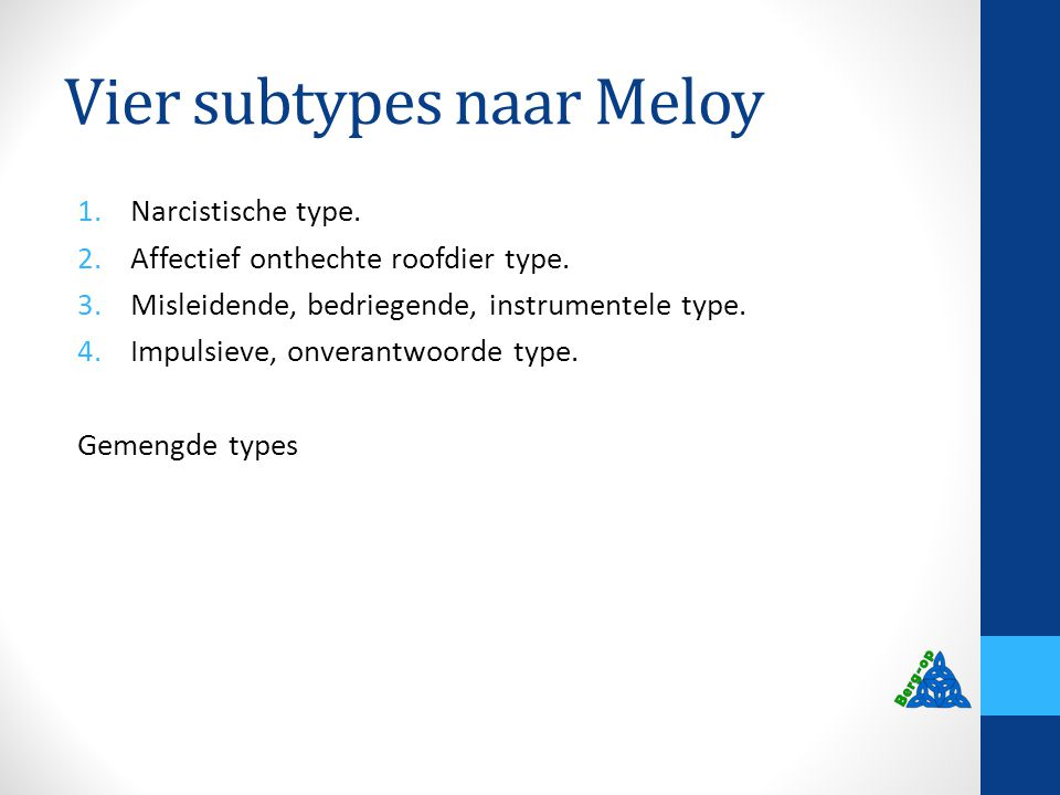 Vier subtypes naar Meloy