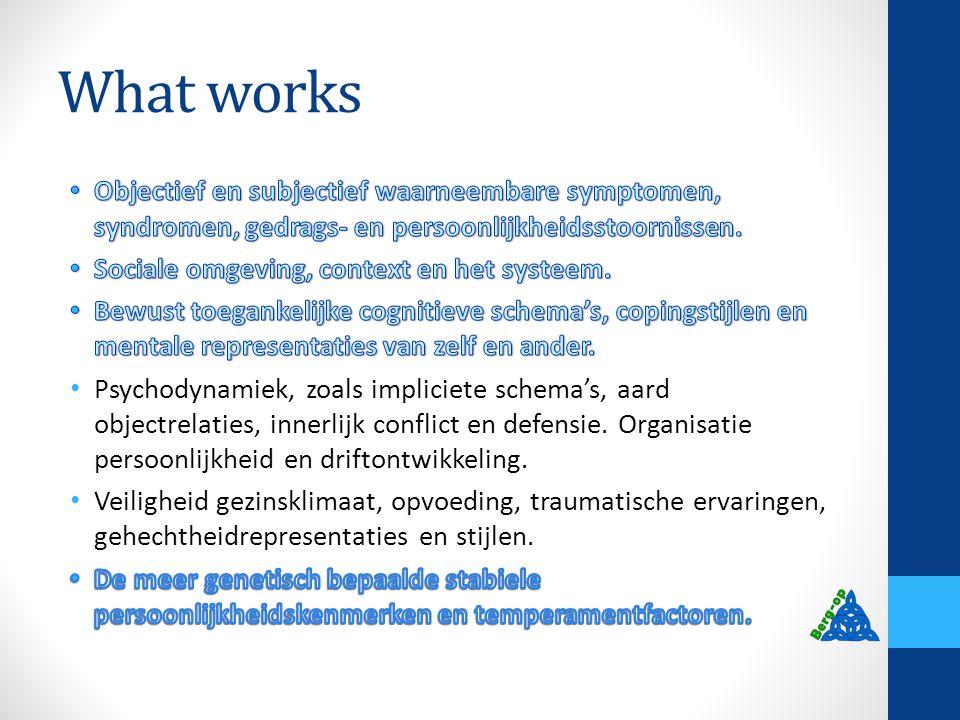 What works Objectief en subjectief waarneembare symptomen, syndromen, gedrags- en persoonlijkheidsstoornissen.