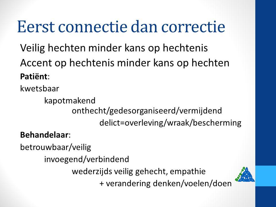 Eerst connectie dan correctie