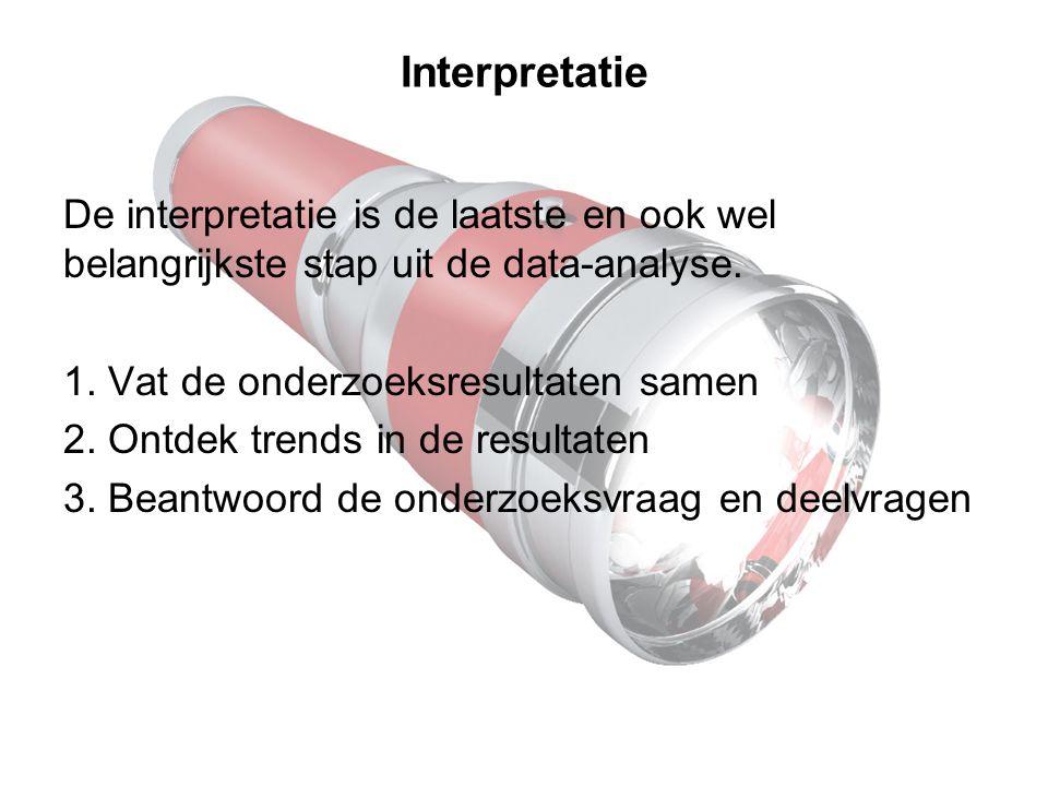 Interpretatie De interpretatie is de laatste en ook wel belangrijkste stap uit de data-analyse. 1. Vat de onderzoeksresultaten samen.
