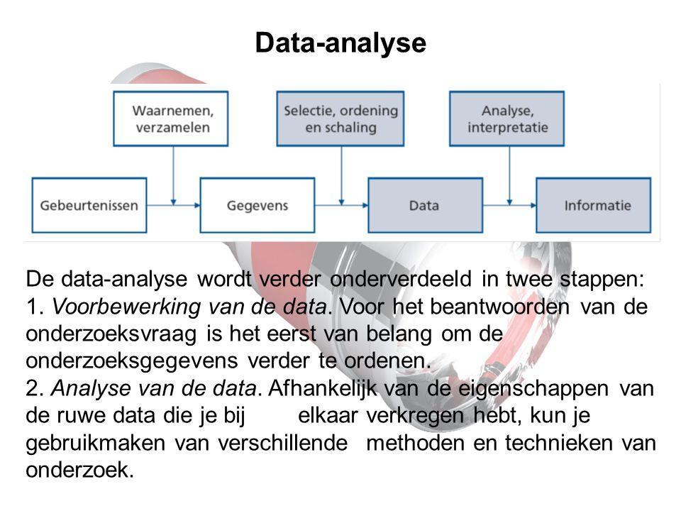 Data-analyse De data-analyse wordt verder onderverdeeld in twee stappen: