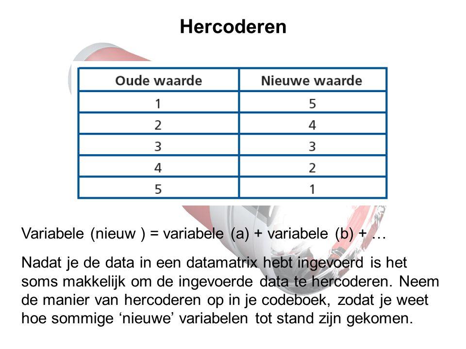 Hercoderen Variabele (nieuw ) = variabele (a) + variabele (b) + …