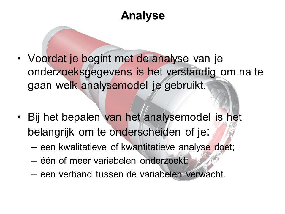 Analyse Voordat je begint met de analyse van je onderzoeksgegevens is het verstandig om na te gaan welk analysemodel je gebruikt.
