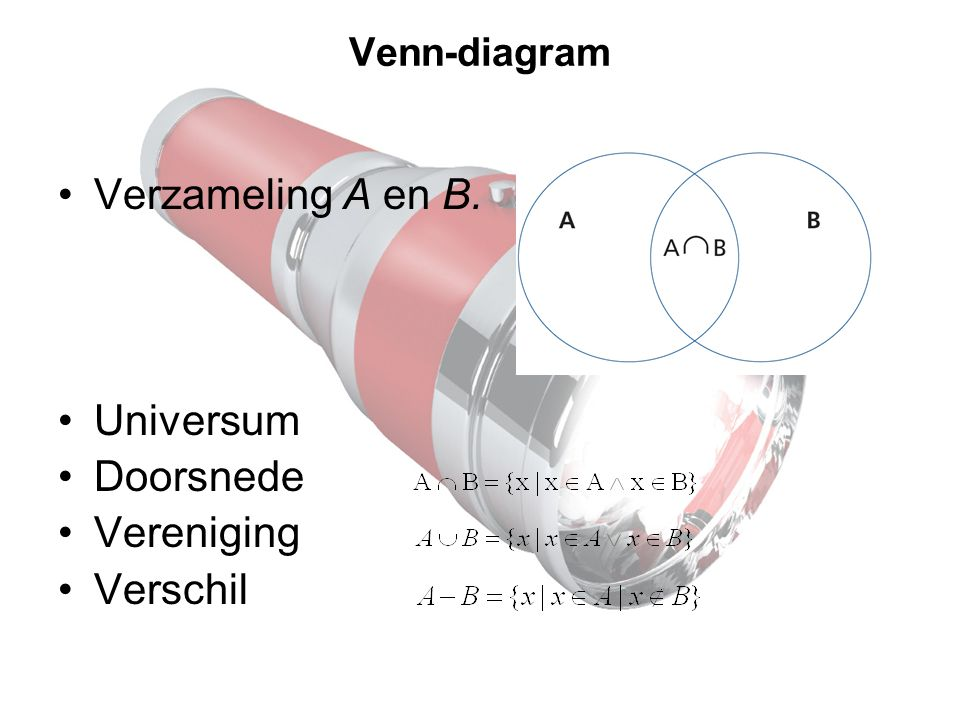 Verzameling A en B. Universum Doorsnede Vereniging Verschil