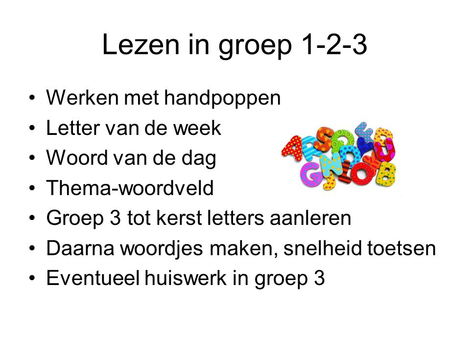 Lezen in groep 1-2-3 Werken met handpoppen Letter van de week