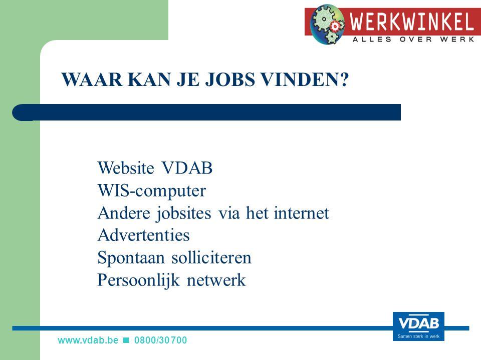 WAAR KAN JE JOBS VINDEN Website VDAB WIS-computer
