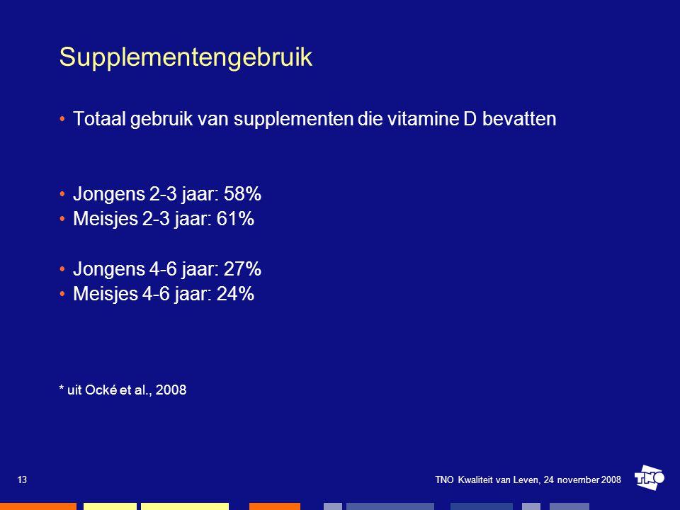Supplementengebruik Totaal gebruik van supplementen die vitamine D bevatten. Jongens 2-3 jaar: 58%