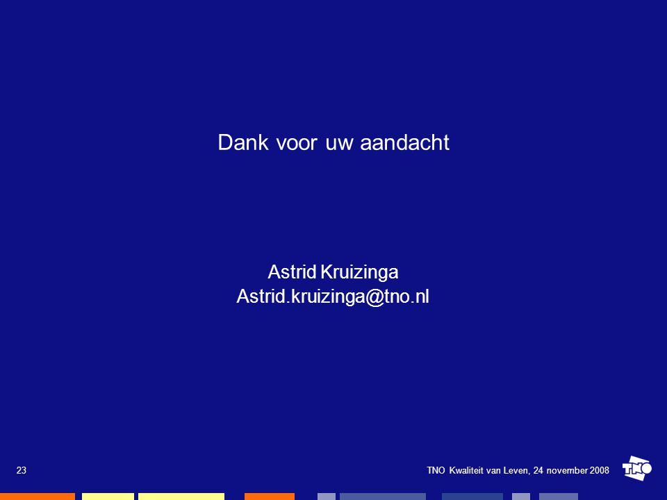 Dank voor uw aandacht Astrid Kruizinga Astrid.kruizinga@tno.nl