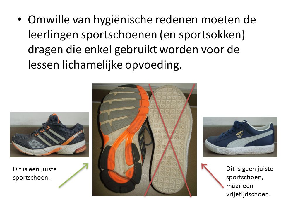 Omwille van hygiënische redenen moeten de leerlingen sportschoenen (en sportsokken) dragen die enkel gebruikt worden voor de lessen lichamelijke opvoeding.