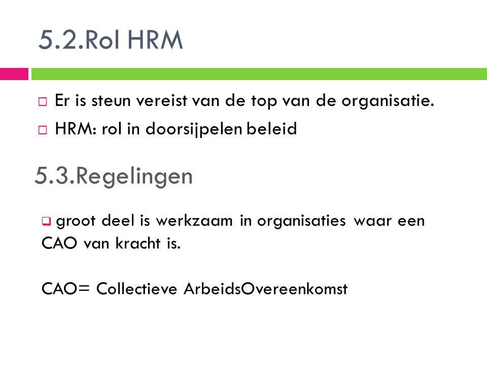 5.2.Rol HRM Er is steun vereist van de top van de organisatie. HRM: rol in doorsijpelen beleid. 5.3.Regelingen.