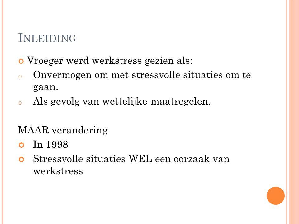 Inleiding Vroeger werd werkstress gezien als: