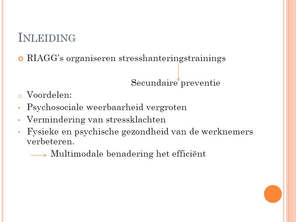 Inleiding RIAGG's organiseren stresshanteringstrainings
