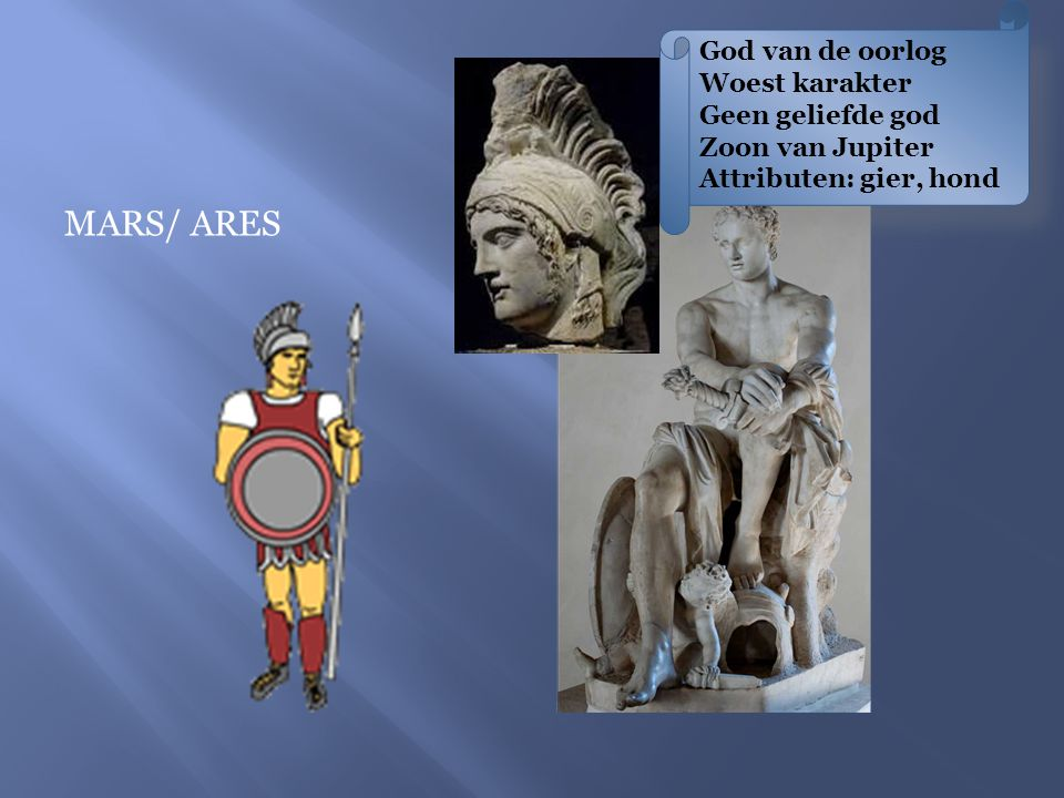 God van de oorlog Woest karakter Geen geliefde god Zoon van Jupiter Attributen: gier, hond