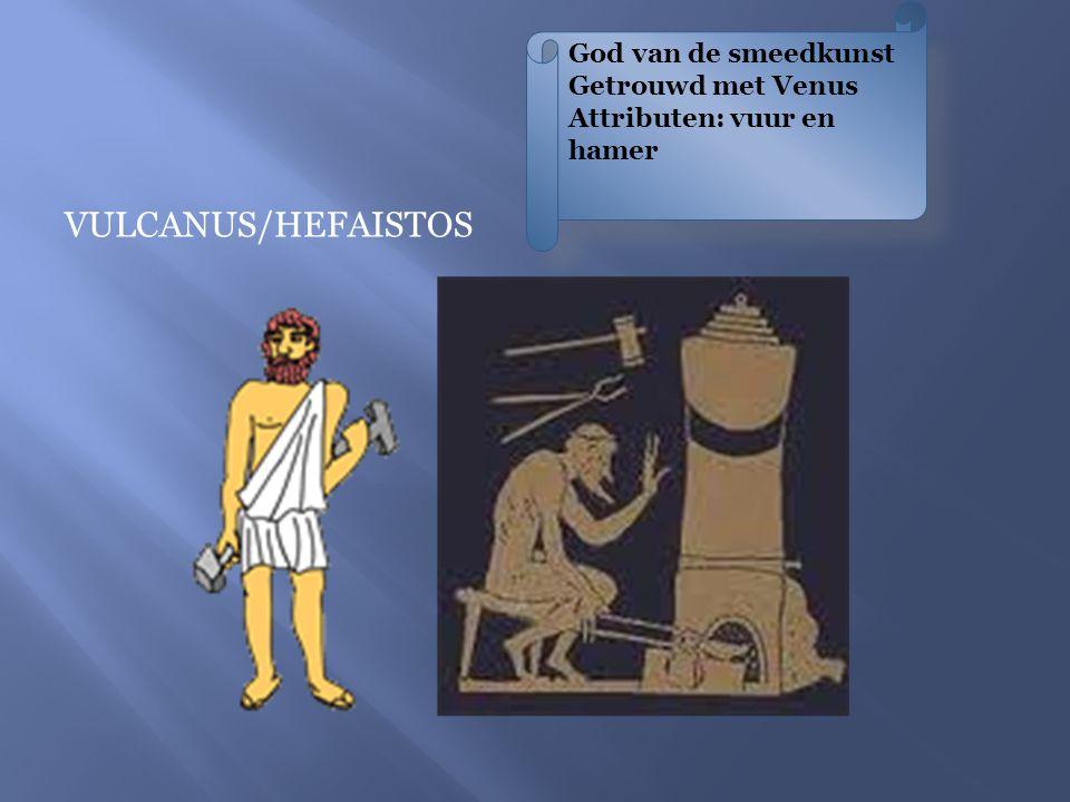 God van de smeedkunst Getrouwd met Venus Attributen: vuur en hamer