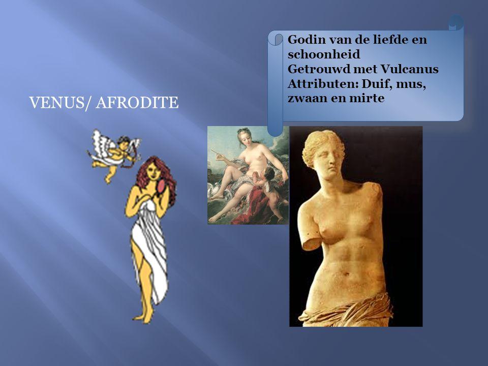 Godin van de liefde en schoonheid Getrouwd met Vulcanus Attributen: Duif, mus, zwaan en mirte