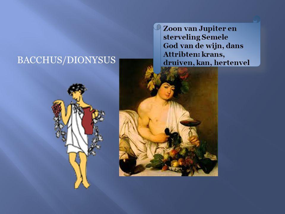Zoon van Jupiter en sterveling Semele God van de wijn, dans Attribten: krans, druiven, kan, hertenvel