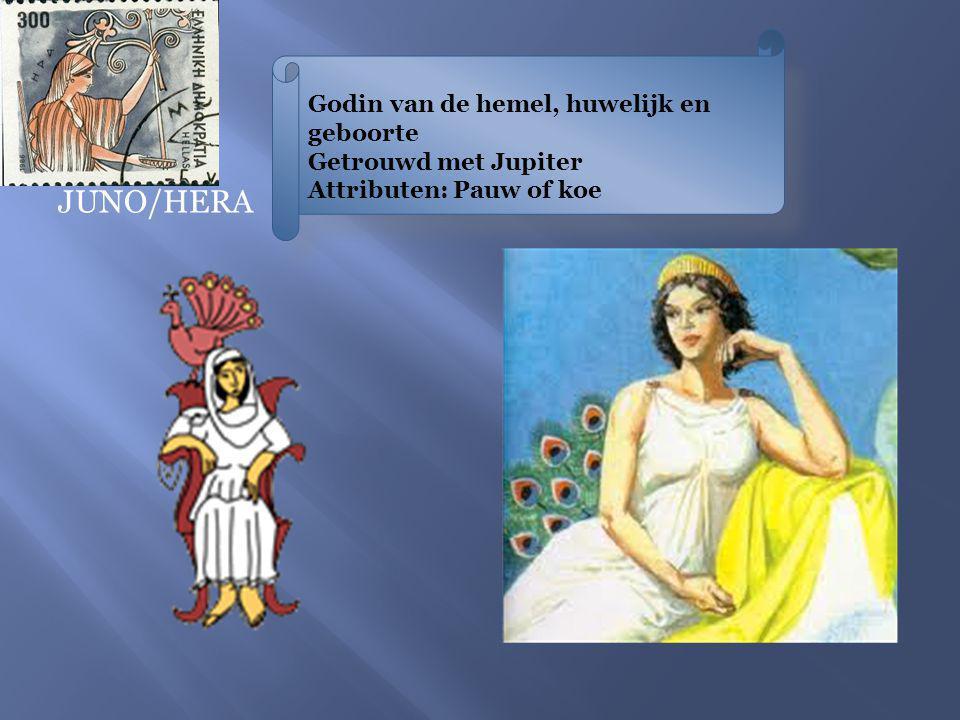 Godin van de hemel, huwelijk en geboorte Getrouwd met Jupiter Attributen: Pauw of koe