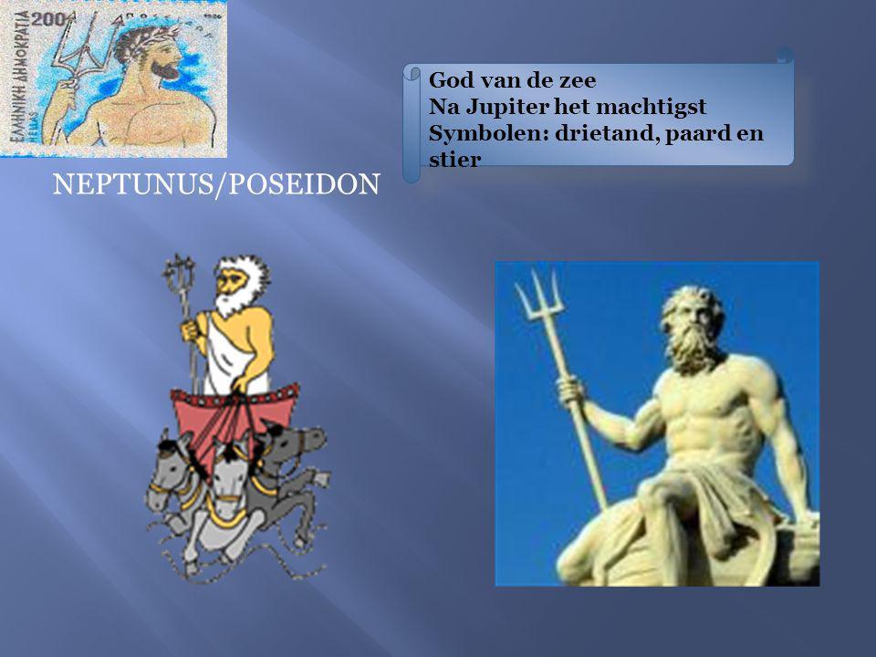 God van de zee Na Jupiter het machtigst Symbolen: drietand, paard en stier