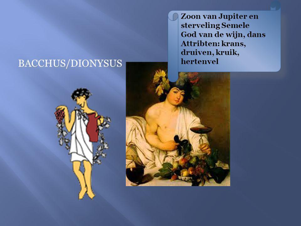 Zoon van Jupiter en sterveling Semele God van de wijn, dans Attribten: krans, druiven, kruik, hertenvel