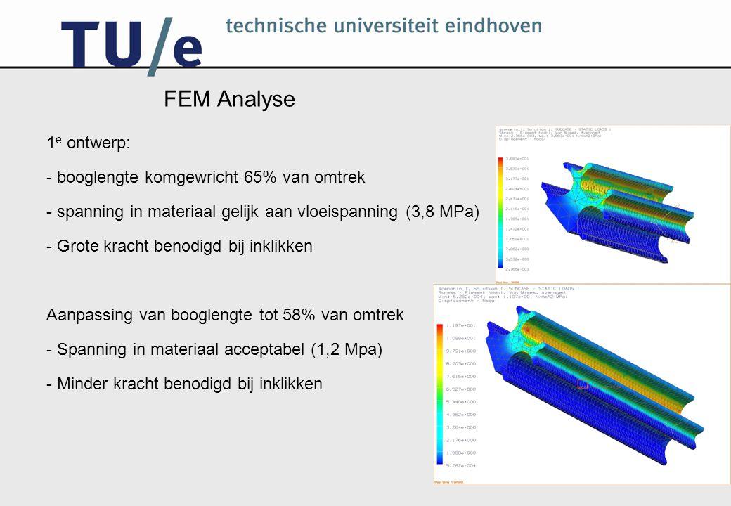 FEM Analyse 1e ontwerp: - booglengte komgewricht 65% van omtrek