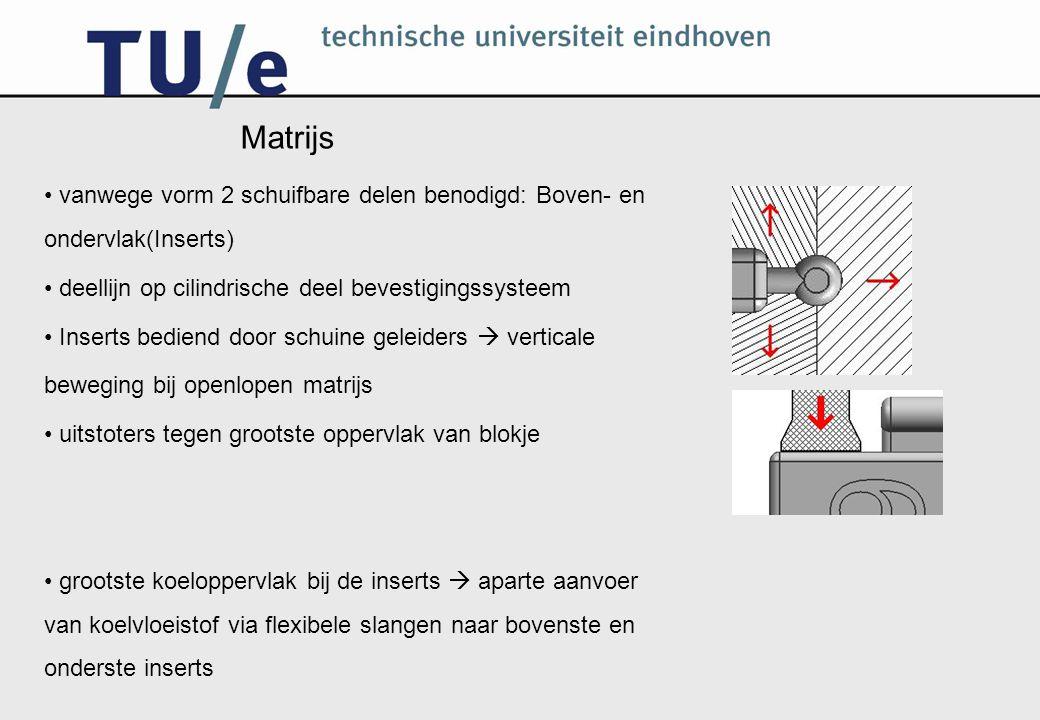 Matrijs vanwege vorm 2 schuifbare delen benodigd: Boven- en ondervlak(Inserts) deellijn op cilindrische deel bevestigingssysteem.
