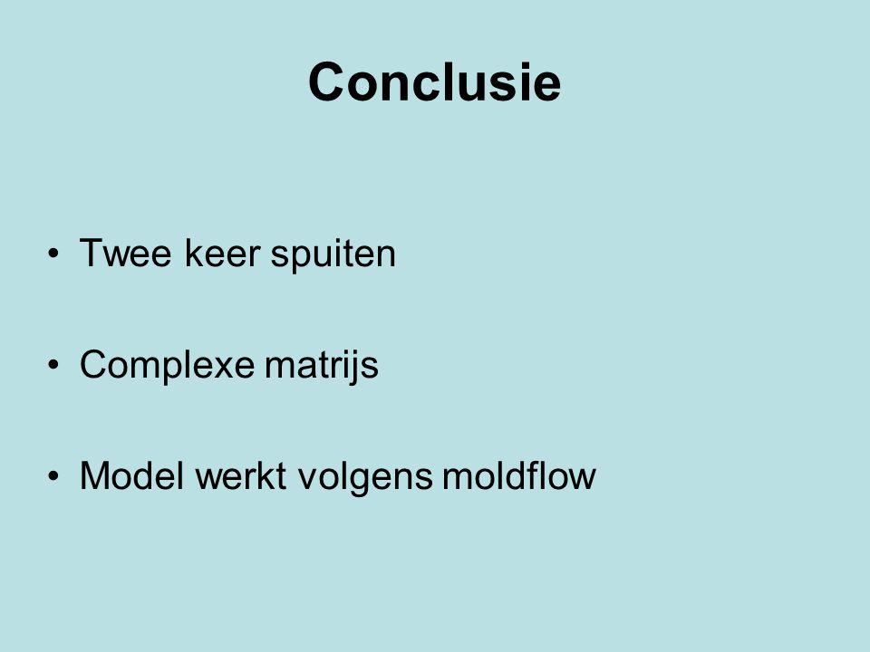 Conclusie Twee keer spuiten Complexe matrijs