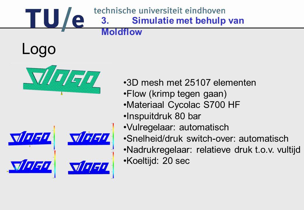 Logo 3. Simulatie met behulp van Moldflow 3D mesh met 25107 elementen