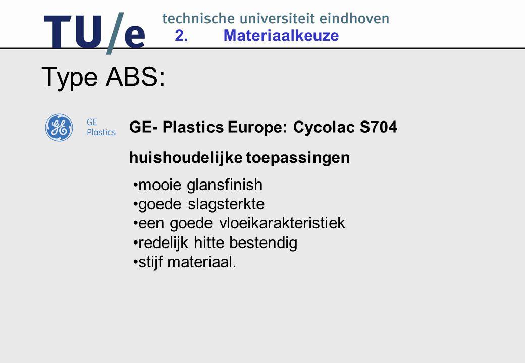 Type ABS: 2. Materiaalkeuze GE- Plastics Europe: Cycolac S704