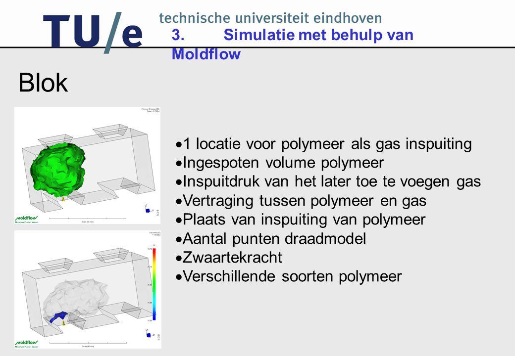 Blok 3. Simulatie met behulp van Moldflow
