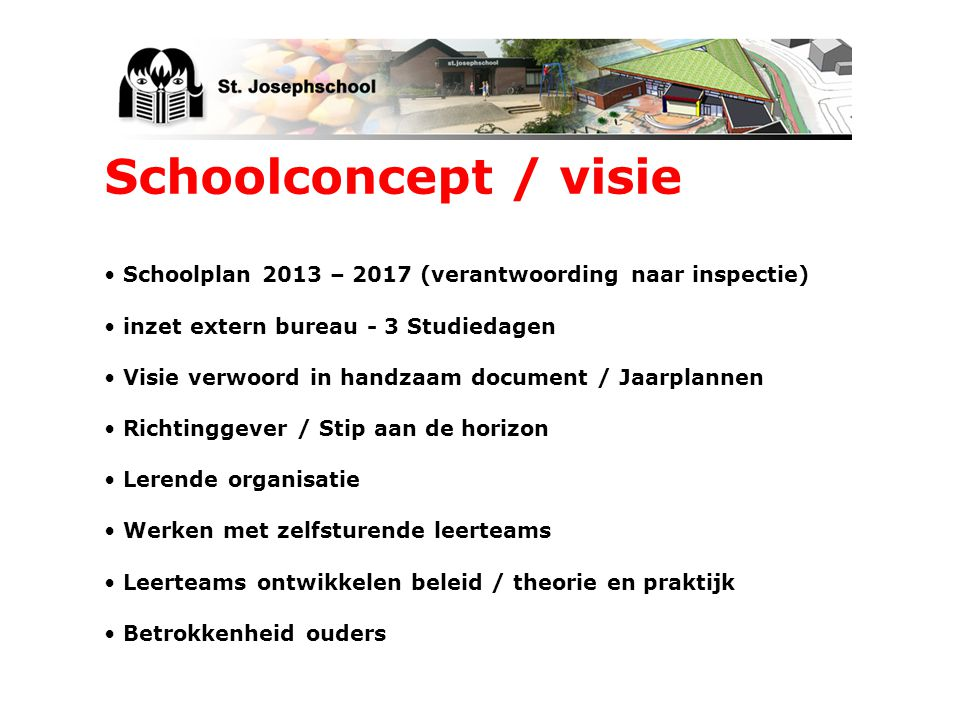 Schoolconcept / visie Schoolplan 2013 – 2017 (verantwoording naar inspectie) inzet extern bureau - 3 Studiedagen.
