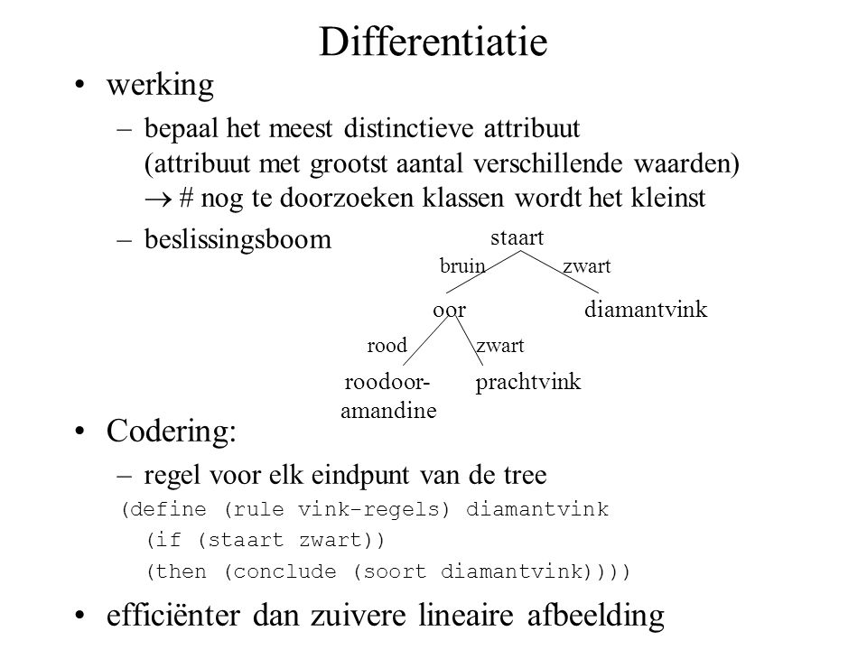 Differentiatie werking Codering: