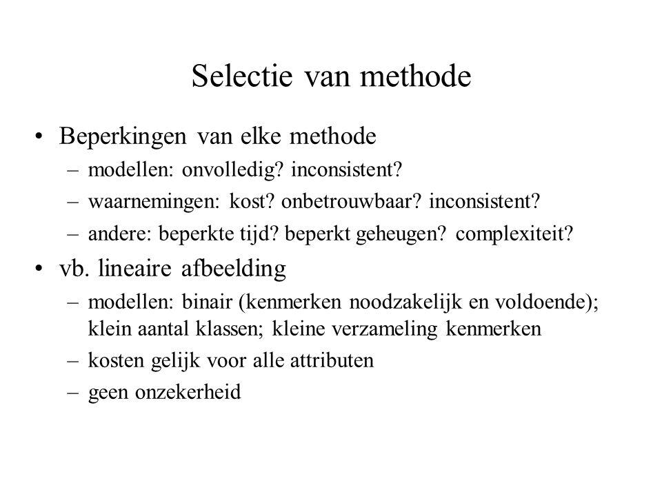 Selectie van methode Beperkingen van elke methode