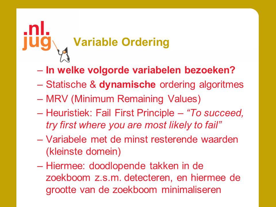Variable Ordering In welke volgorde variabelen bezoeken