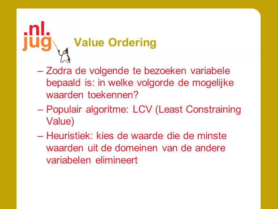 Value Ordering Zodra de volgende te bezoeken variabele bepaald is: in welke volgorde de mogelijke waarden toekennen