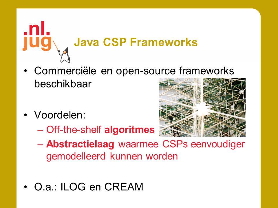 Java CSP Frameworks Commerciële en open-source frameworks beschikbaar
