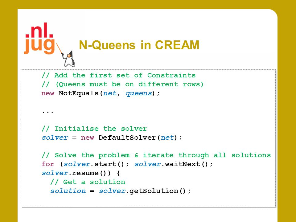 N-Queens in CREAM // Add the first set of Constraints