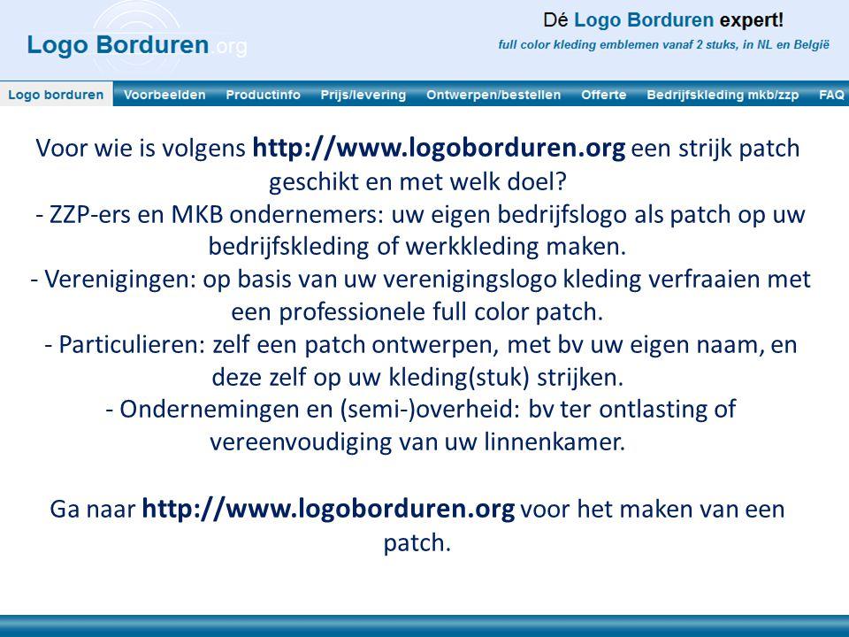 Ga naar http://www.logoborduren.org voor het maken van een patch.