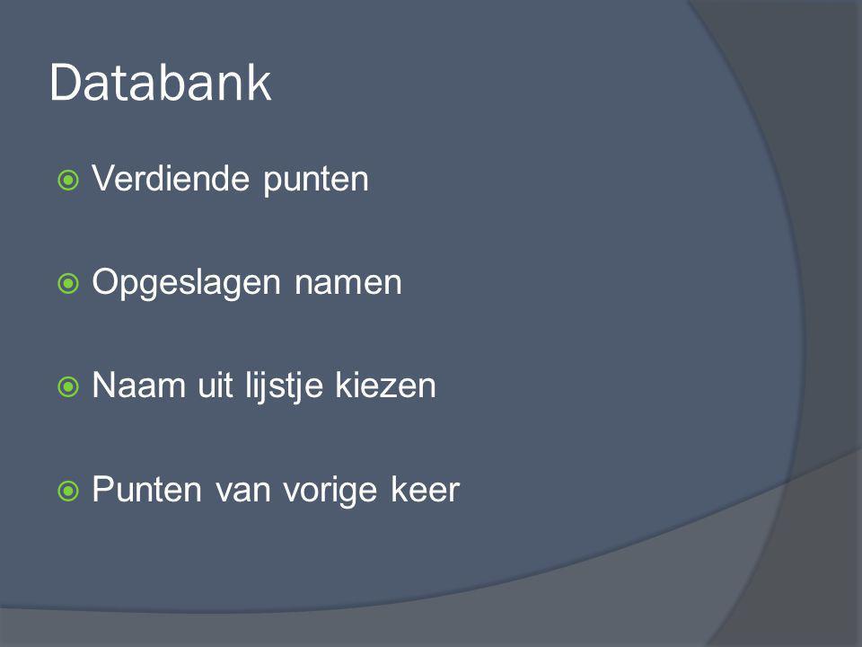 Databank Verdiende punten Opgeslagen namen Naam uit lijstje kiezen