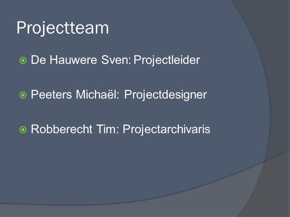 Projectteam De Hauwere Sven: Projectleider