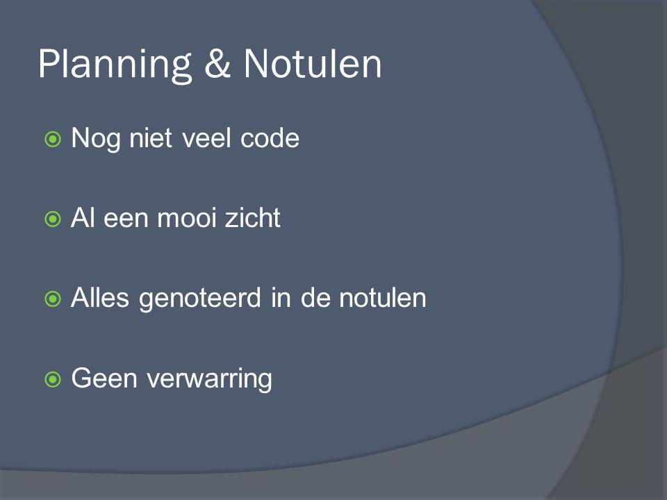 Planning & Notulen Nog niet veel code Al een mooi zicht