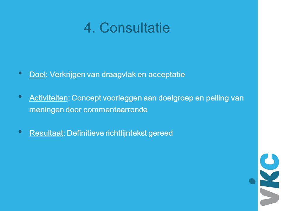 4. Consultatie Doel: Verkrijgen van draagvlak en acceptatie
