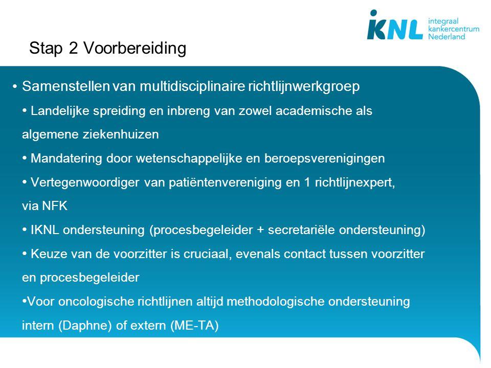 Stap 2 Voorbereiding Samenstellen van multidisciplinaire richtlijnwerkgroep.