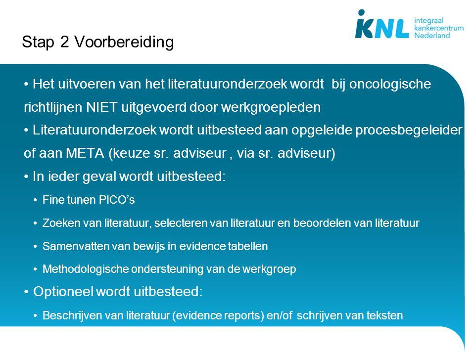 Stap 2 Voorbereiding Het uitvoeren van het literatuuronderzoek wordt bij oncologische richtlijnen NIET uitgevoerd door werkgroepleden.