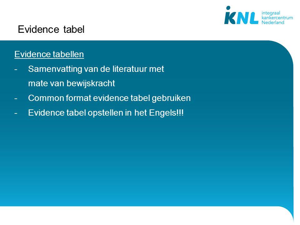 Evidence tabel Evidence tabellen Samenvatting van de literatuur met
