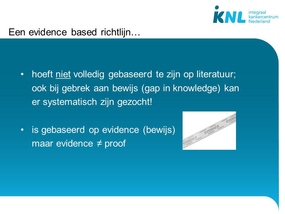 Een evidence based richtlijn…