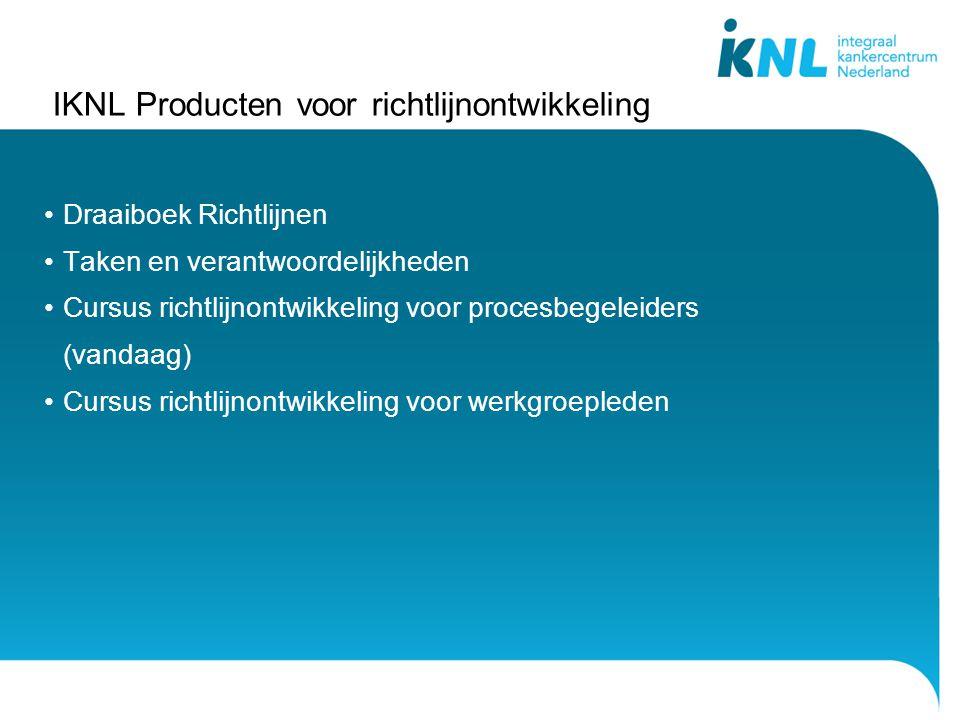 IKNL Producten voor richtlijnontwikkeling