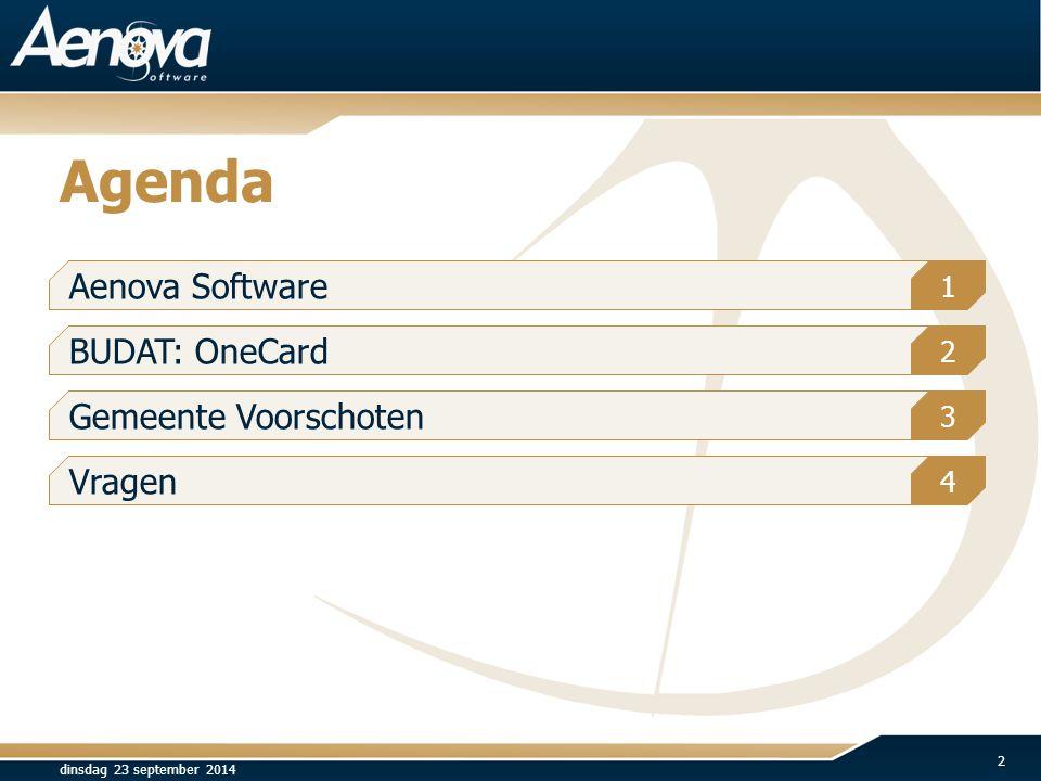 Agenda Aenova Software BUDAT: OneCard Gemeente Voorschoten Vragen 1 2